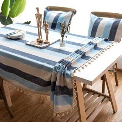 mantel azul de tela